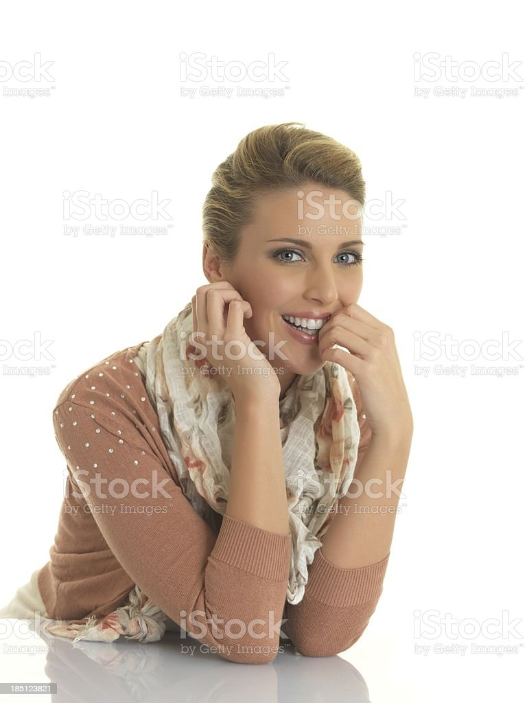 Blonde smiling stock photo