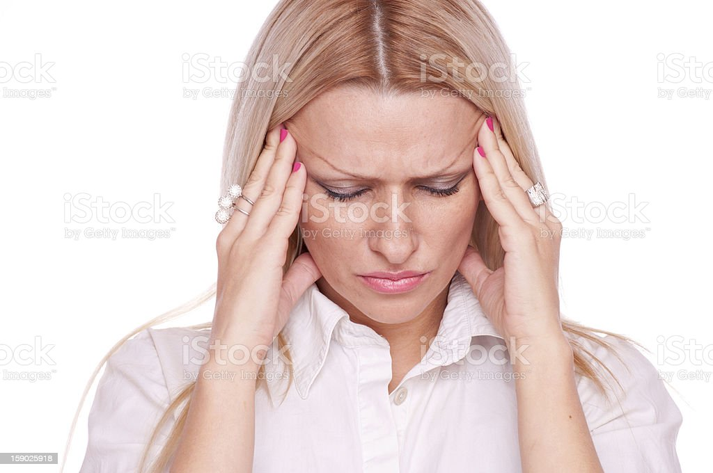 Blonde suffering from head pain royalty-free stock photo