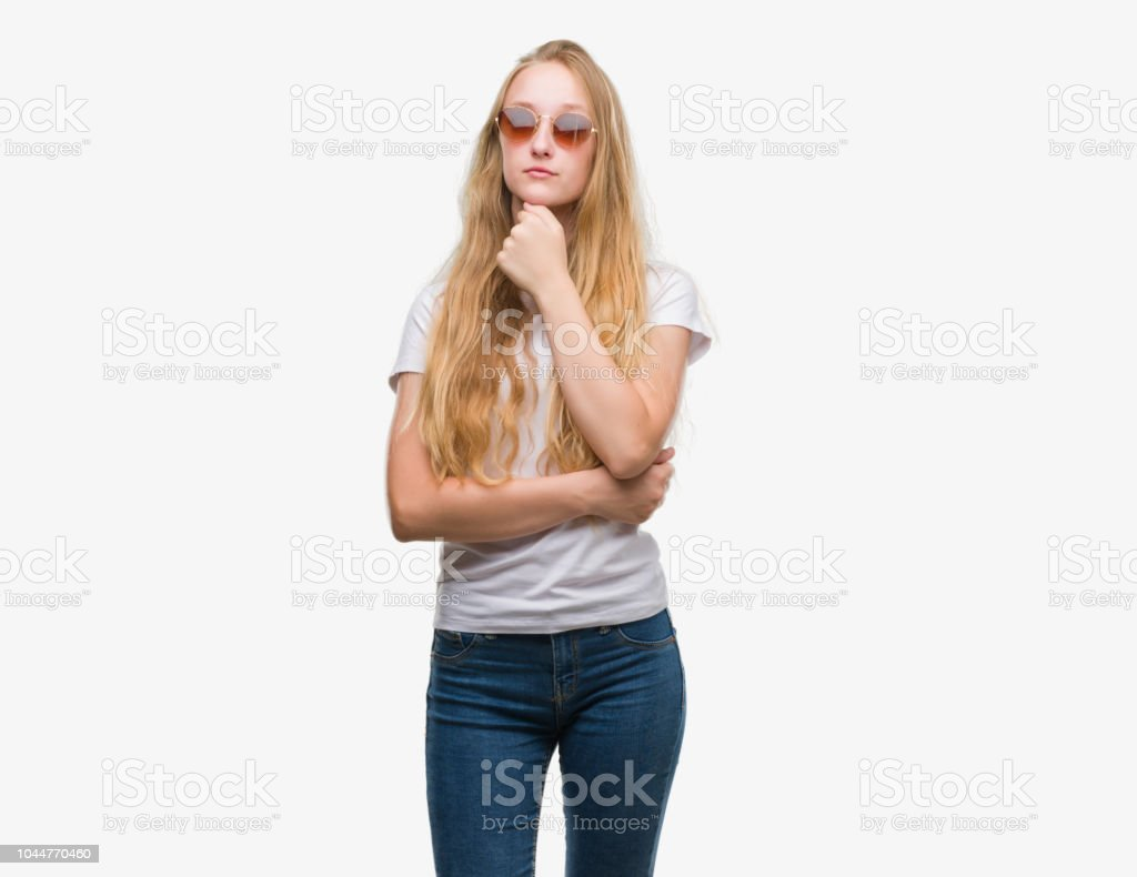 release date 9f82d 71669 Blonde Teenager Woman Wearing Sunglasses Serious Face ...