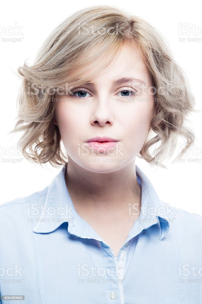 Blonde Wearing A Blue Shirt stock photo