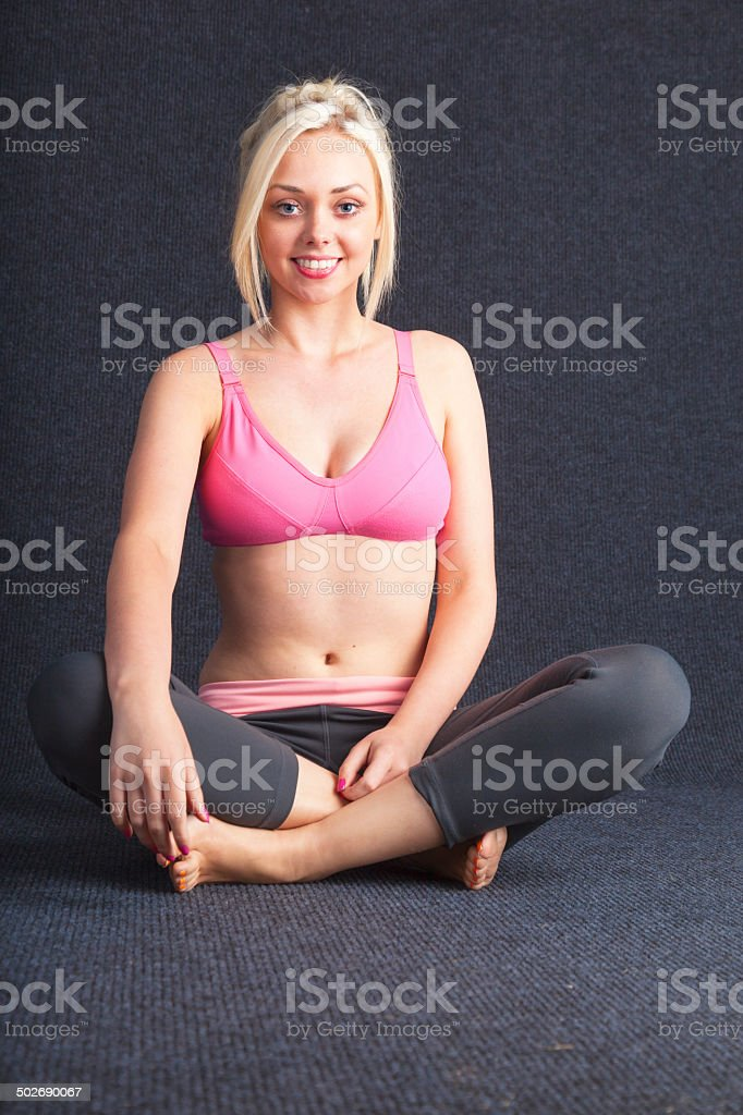 Blonde Wearing Gym Clothes royalty-free stock photo