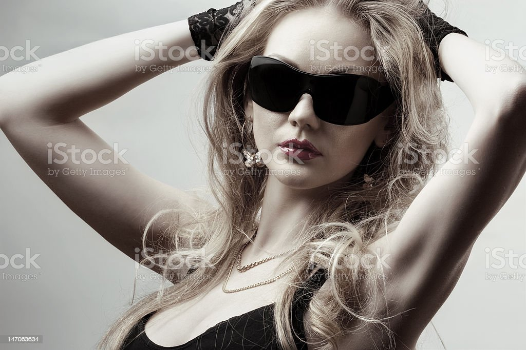 blonde wearing sunglasses royalty-free stock photo