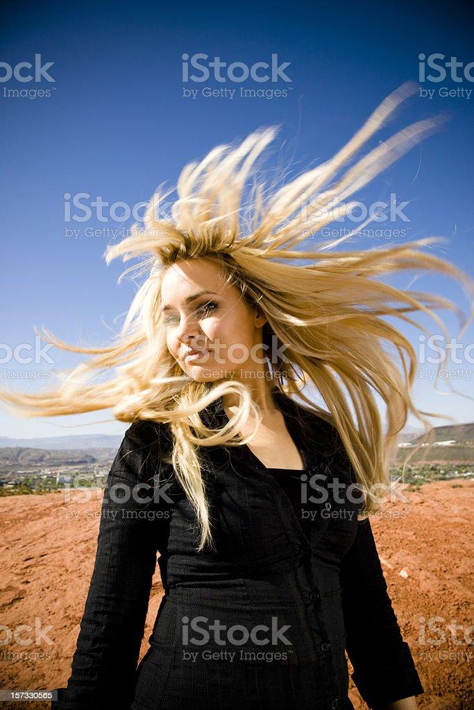 Blonde Wild Hair Women Beauty Portrait royalty-free stock photo
