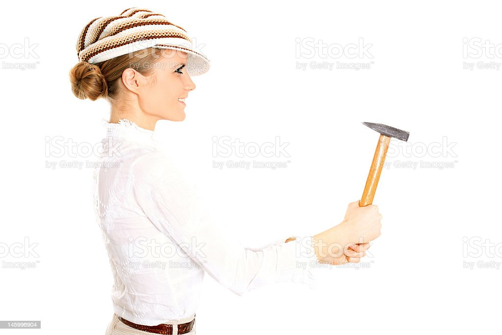 Blonde with a hammer stock photo