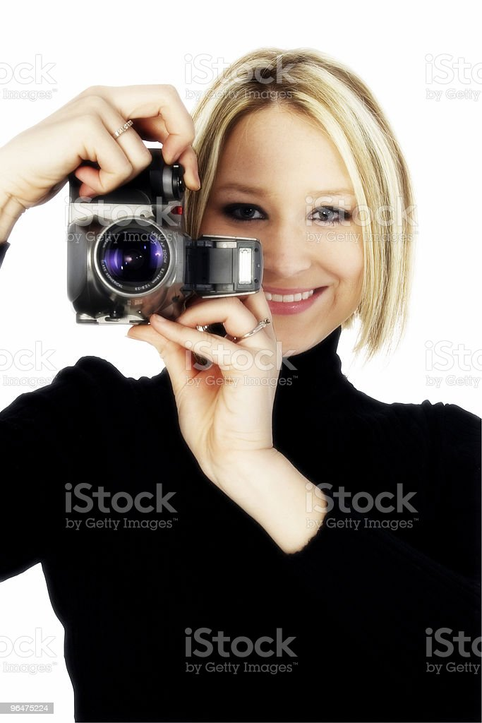 Blonde with Camera royalty-free stock photo