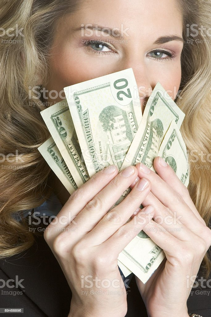 Blonde with cash royalty-free stock photo
