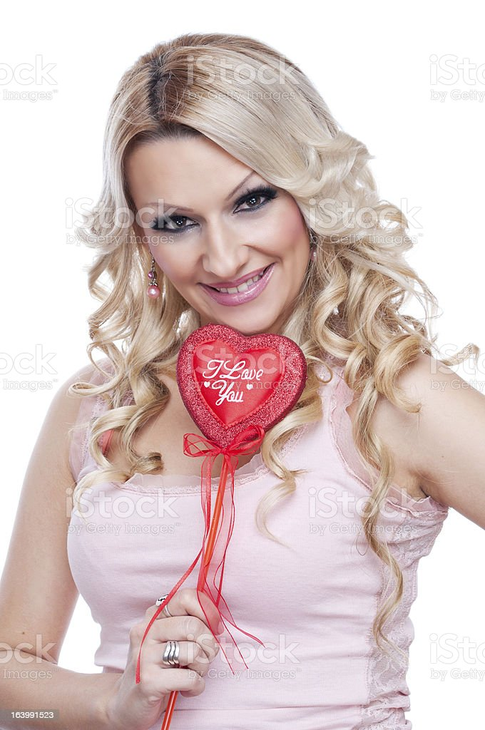 Blonde with heart royalty-free stock photo