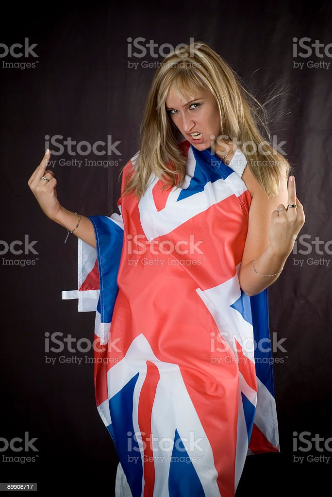 blonde with UK flag royalty free stockfoto