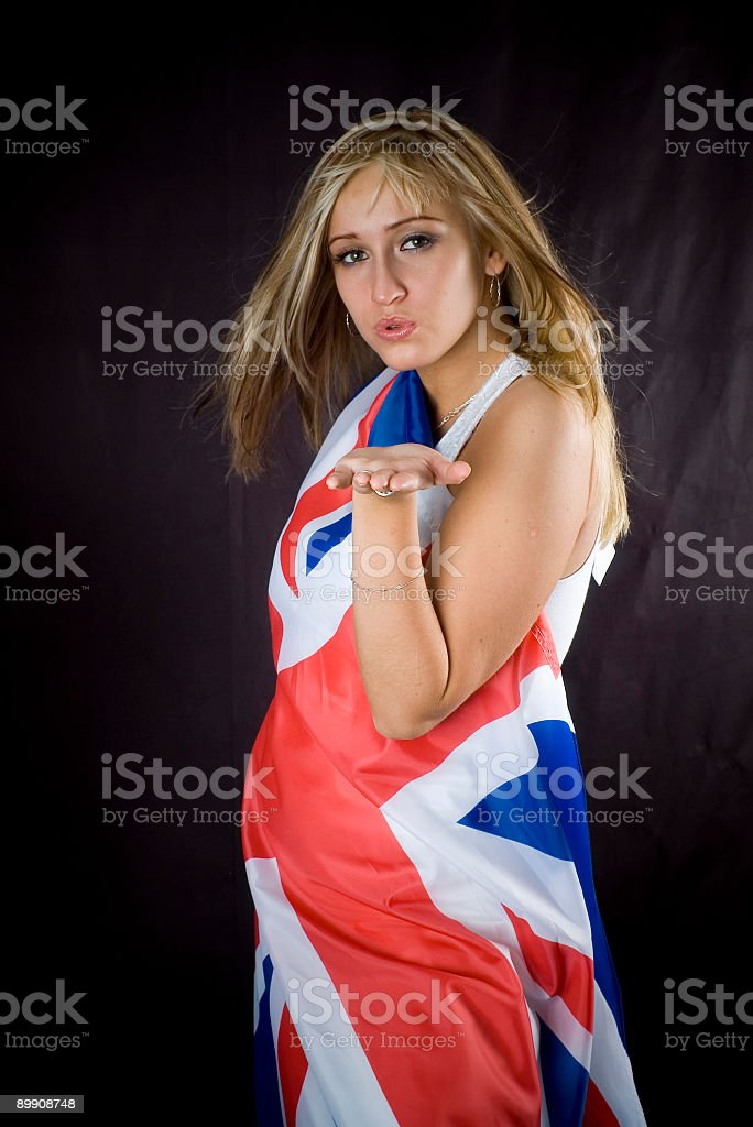 blonde with UK flag royalty-free stock photo