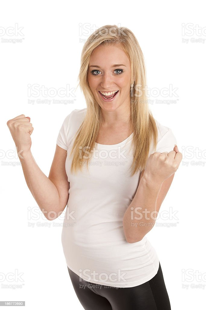 blonde woman gesture success royalty-free stock photo