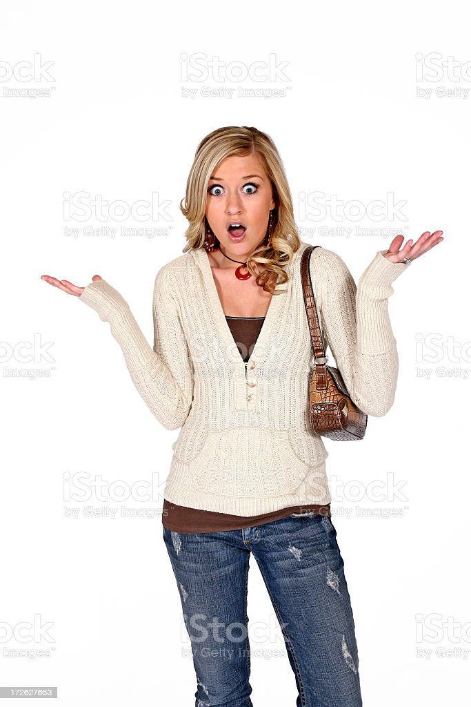 Blonde woman in a casual clothes looking surprised stock photo