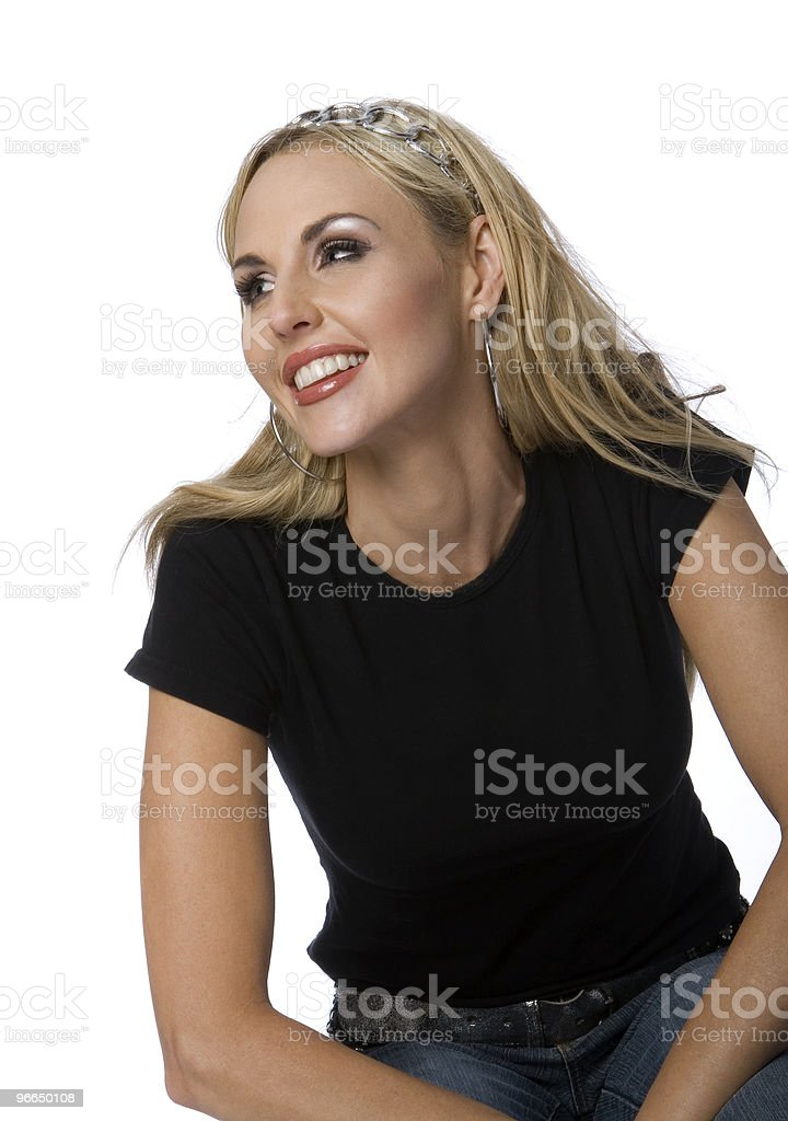Blonde Woman in Black T-Shirt stock photo