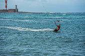 Schwarbe, Ruegen, Germany - september 12, 2020: Kitesurfer on the baltic sea at the german island Ruegen
