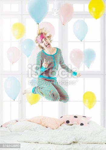 istock blonde woman in the Striped Pijamas 519343660