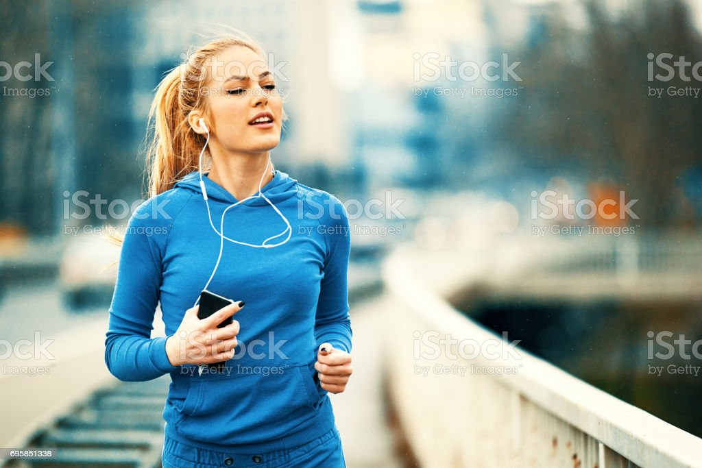 Blonde woman is training stock photo