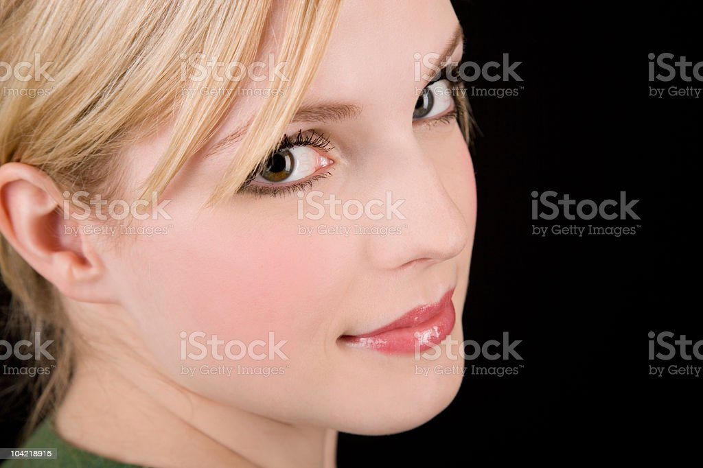 Blonde Woman / Looking Back stock photo