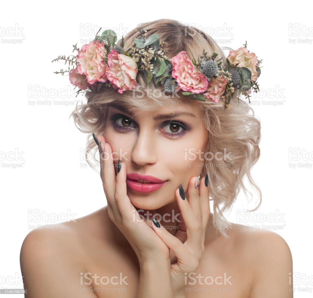Blonde Woman Model With Make Up Short Curly Hair And Flowers Isolated On White Stock Photo Download Image Now Istock