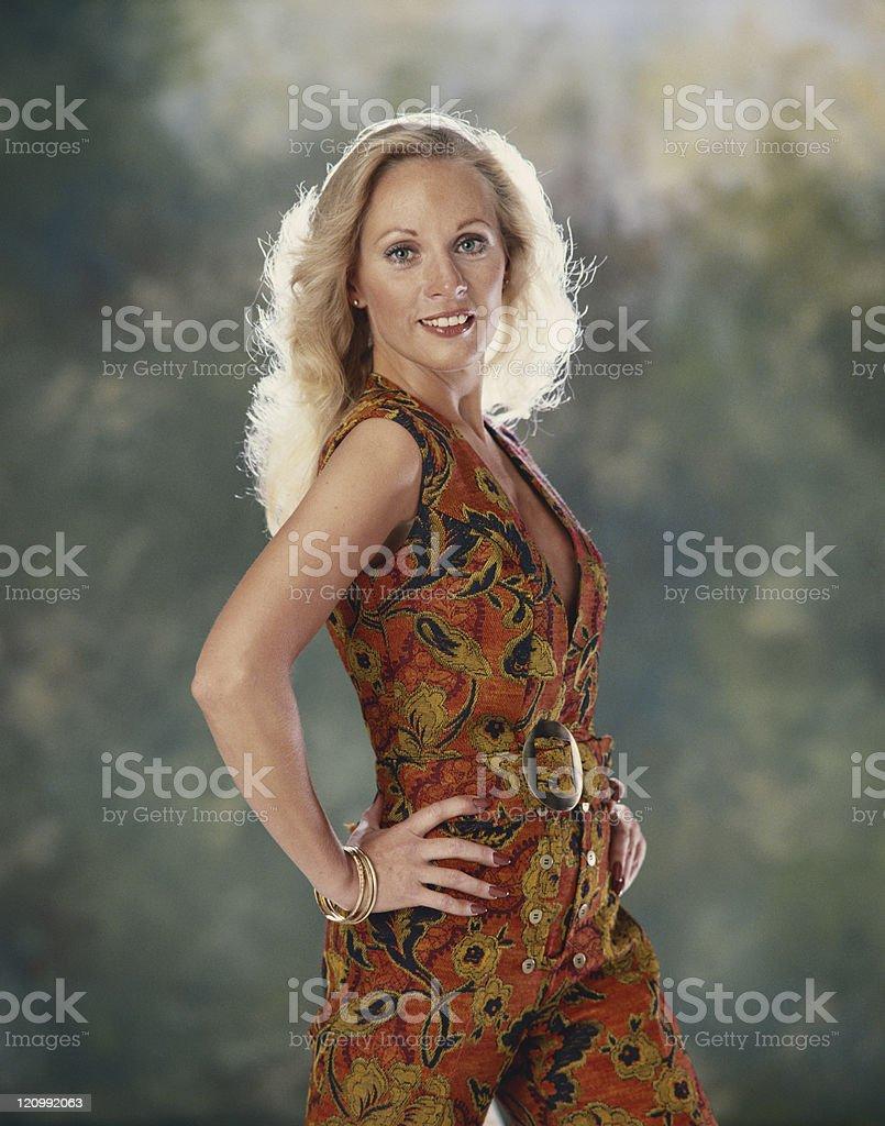 Blonde woman posing, portrait stock photo