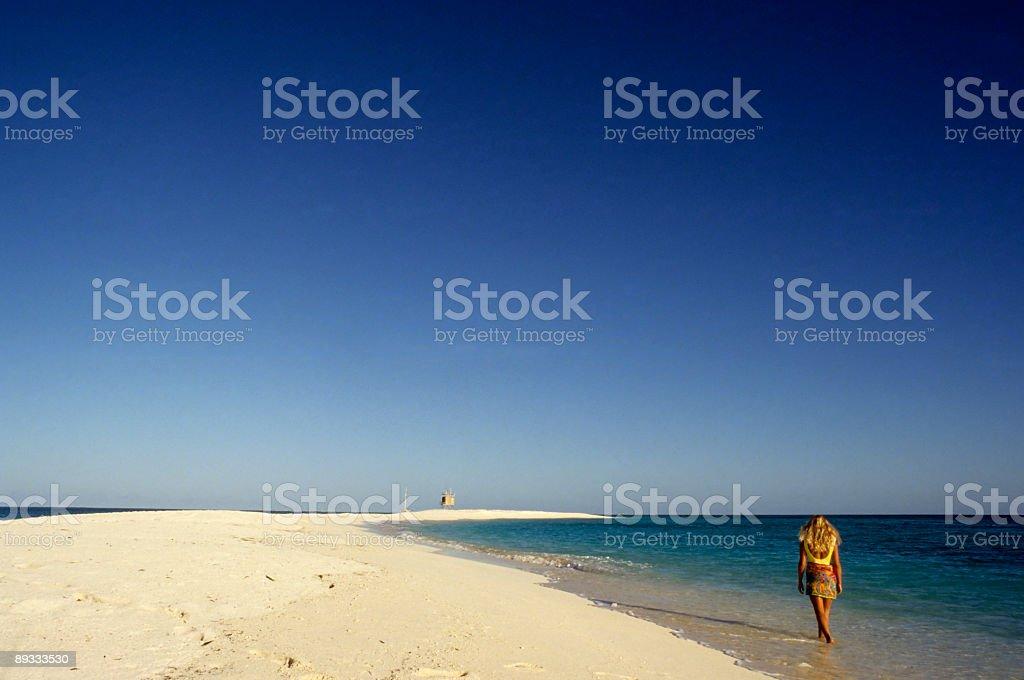 Blonde Woman Walking On Beach royalty-free stock photo