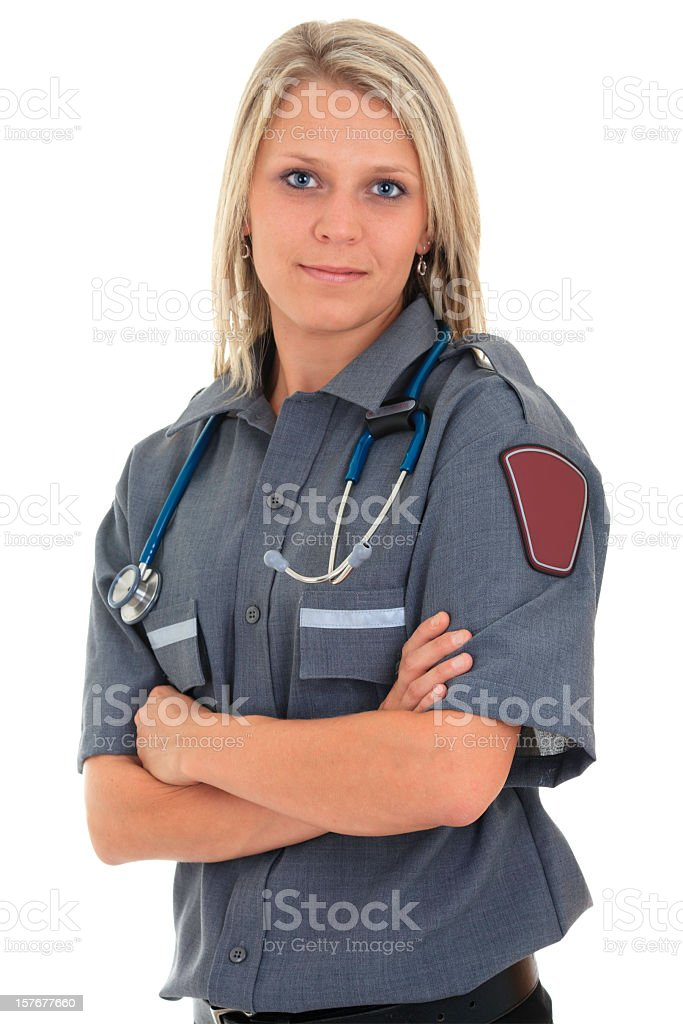 A blonde woman who is a professional paramedic royalty-free stock photo