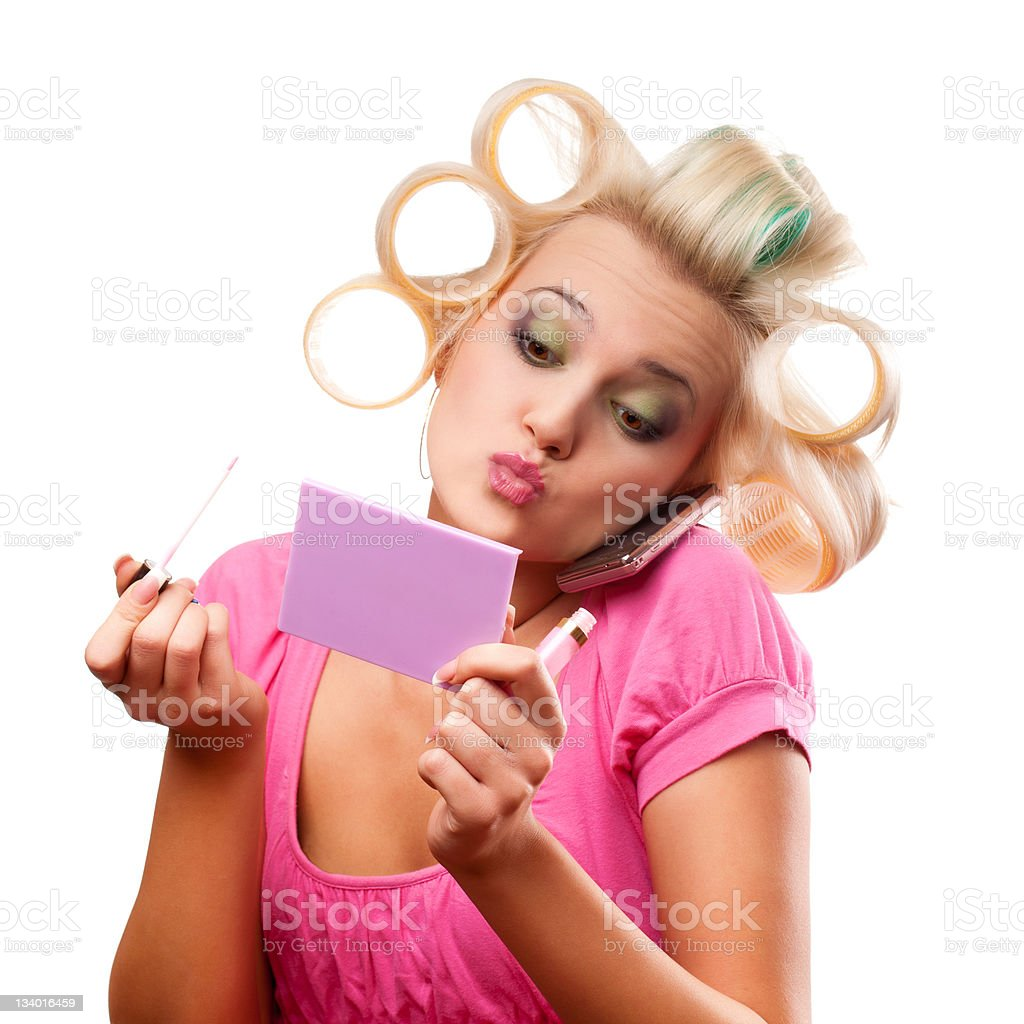 blonde woman with rollers royalty-free stock photo