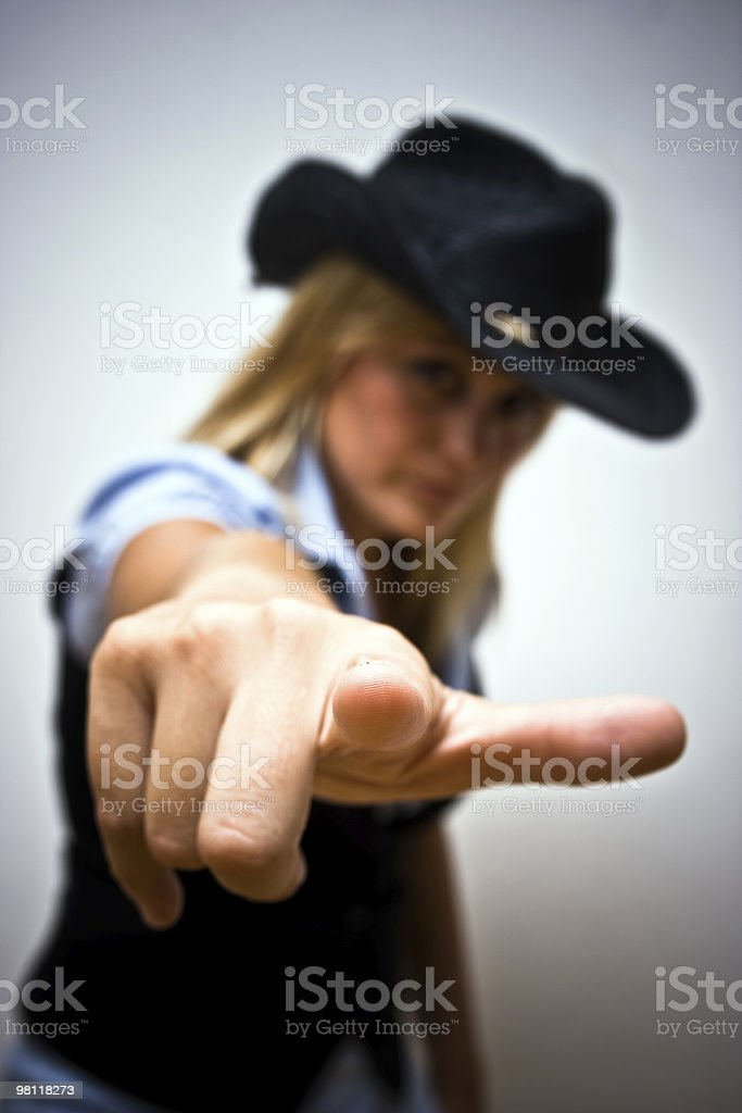 Blonde Womand Pointing the Camera royalty-free stock photo