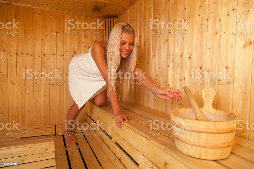 blonde in sauna