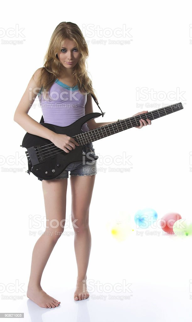 Blondie with bass guitar stock photo