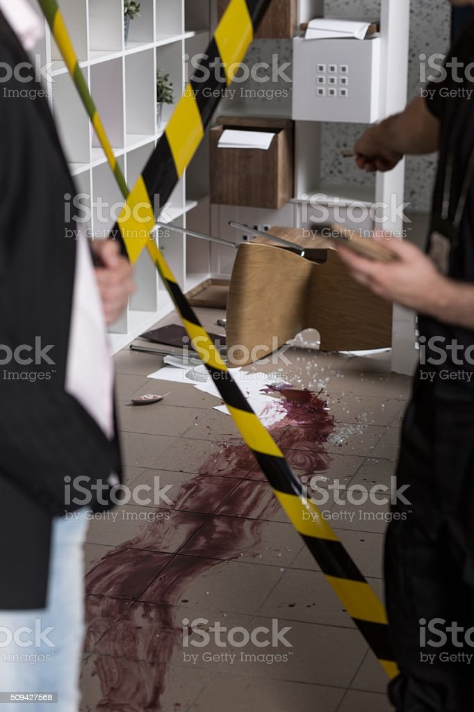 Blood at the crime scene stock photo
