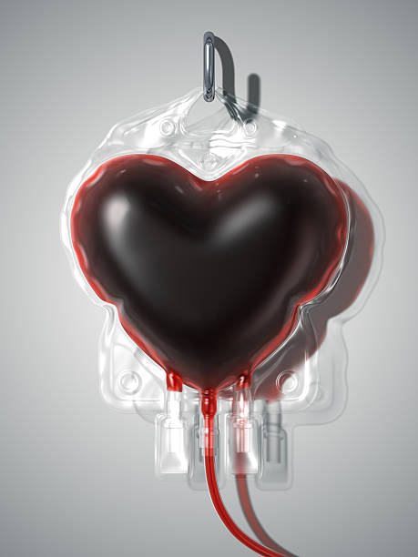 Sacca di sangue nel cuore. Concetto di donare - foto stock
