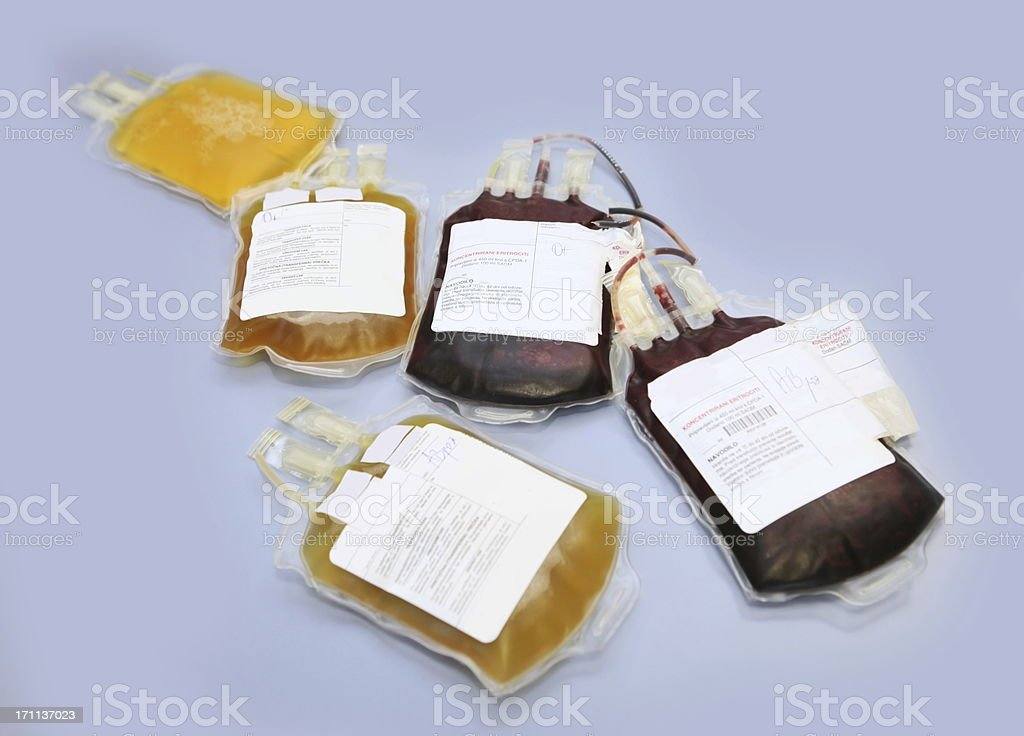 Blood bags with red and white blood cells royalty-free stock photo