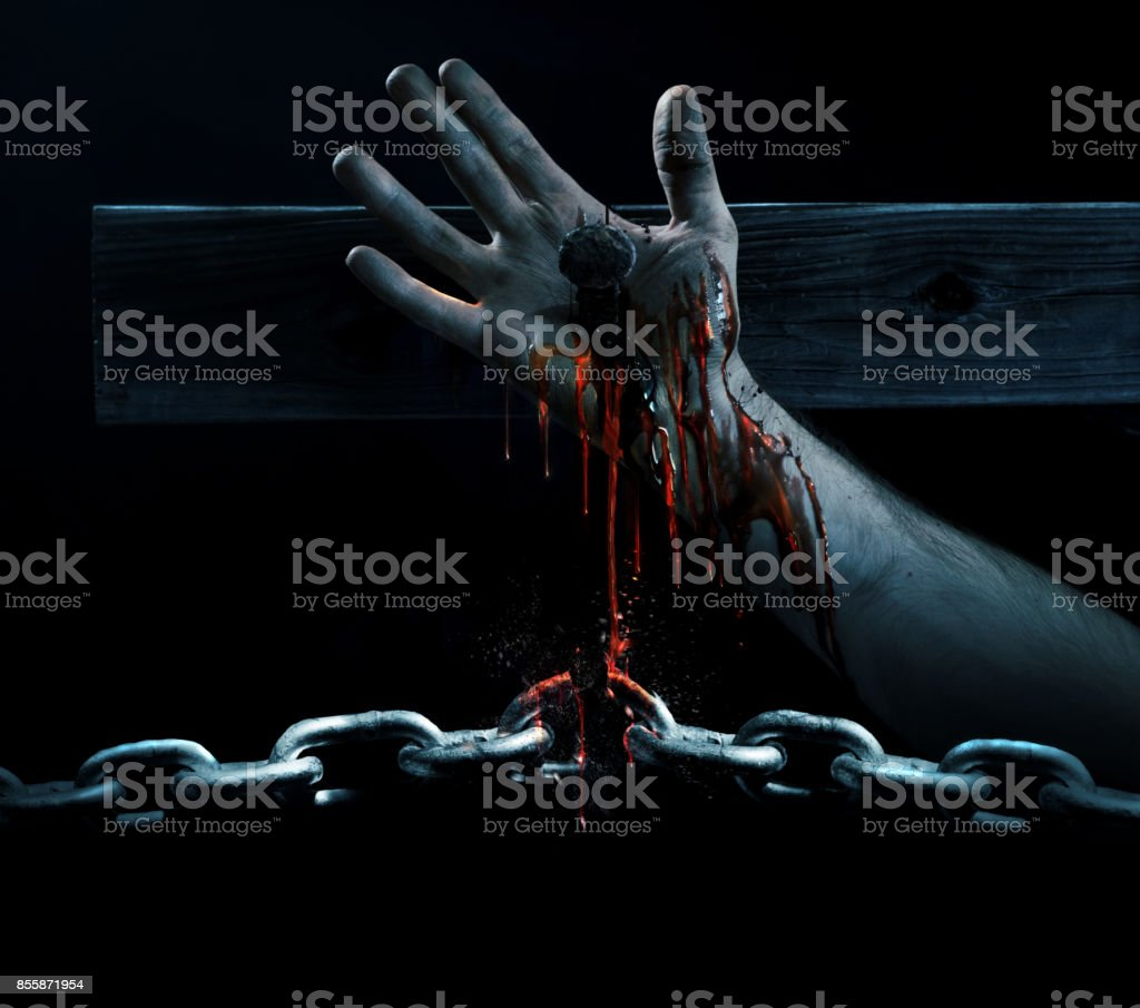 Blood breaking the chains stock photo