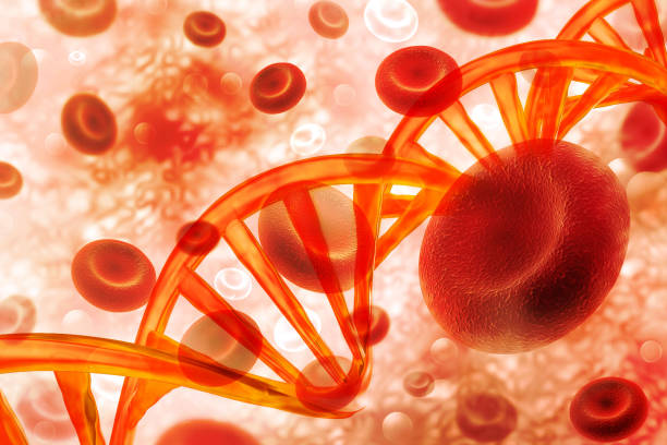 DNA blood cell on scientific background stock photo