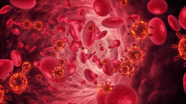 Blood cells and bacterium stock photo