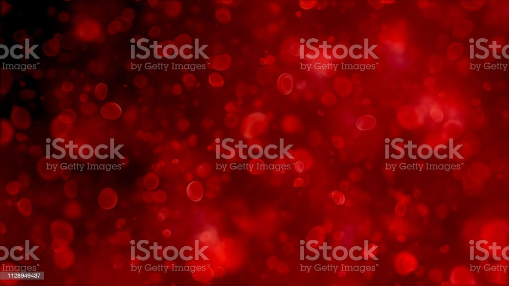 Blood cells, bacteria and virus traveling through a vein. bubble air particle in the water, science biology blood cell and virus concept stock photo