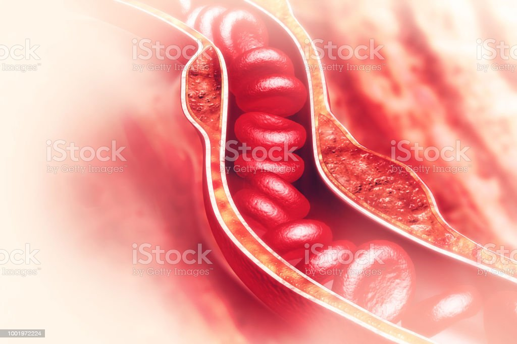 Blood cells in an artery stock photo