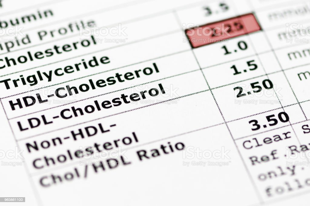 Blood chemistry report showing a lipid profile with high triglyceride levels. - Royalty-free Abdomen Stock Photo