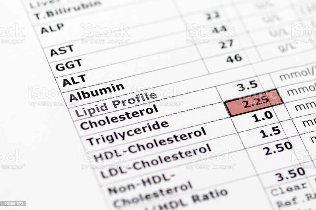 Blood chemistry report showing normal liver function tests, and a lipid profile with high triglyceride levels. - Royalty-free Abdomen Stock Photo