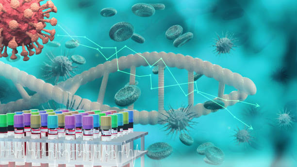 blood collection tubes and dna cell structure biology microscope and, virus in blood cell, genetic mutation, coronavirus 2019-ncov novel concept, corona pandemic,  influenza virus h1n1, 3d rendering. - covid testing zdjęcia i obrazy z banku zdjęć