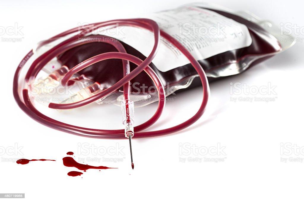 Blood donation bag syringe needle stock photo