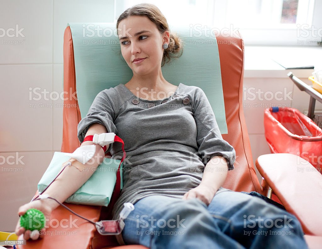 Blood donation - full person view stock photo