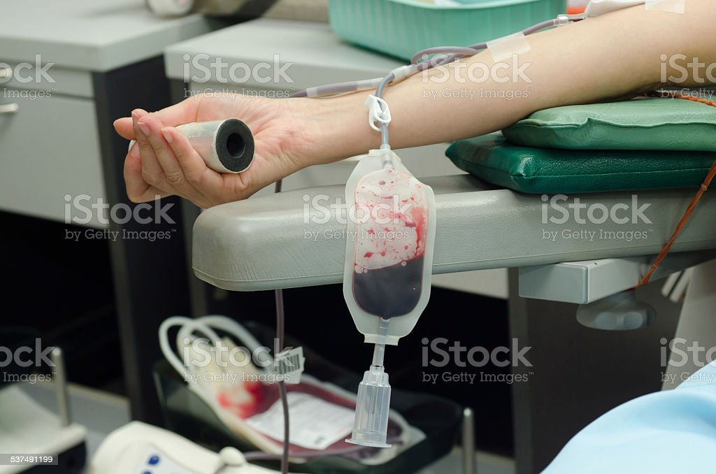 Blood donor at donation stock photo