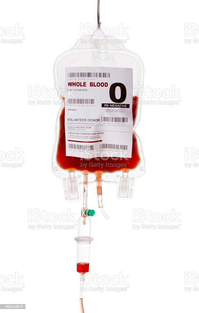 Blood donor Filled blood bag on white background. Donating concept 2015 Stock Photo