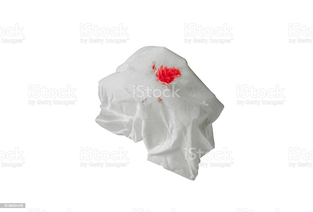 Blood drip on paper in white background stock photo