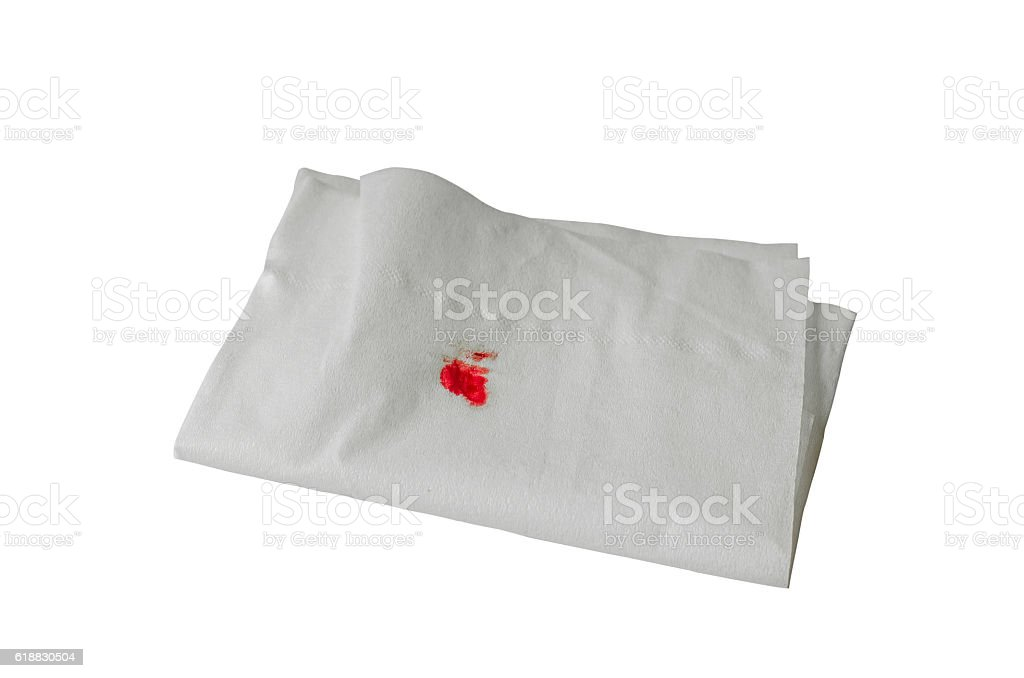 Blood drip on paper in white background, signal abnormalities of stock photo