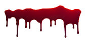 Blood Dripping Down on White Background