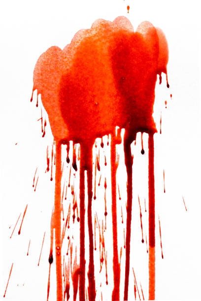 Blood dripping down on white background stock photo