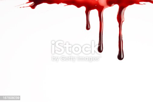 A stock photo of a white background with blood dripping down from the top edge.