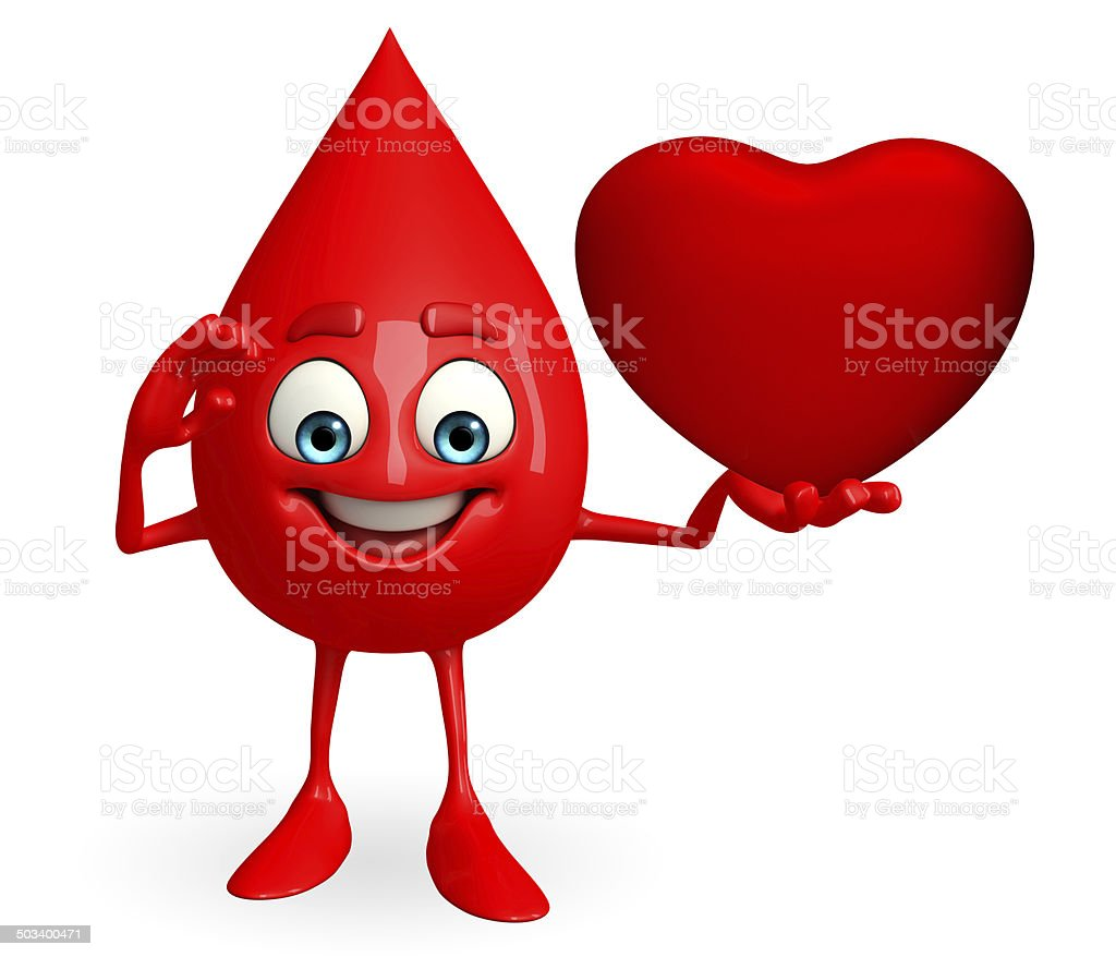 Blood Drop Character with heart stock photo