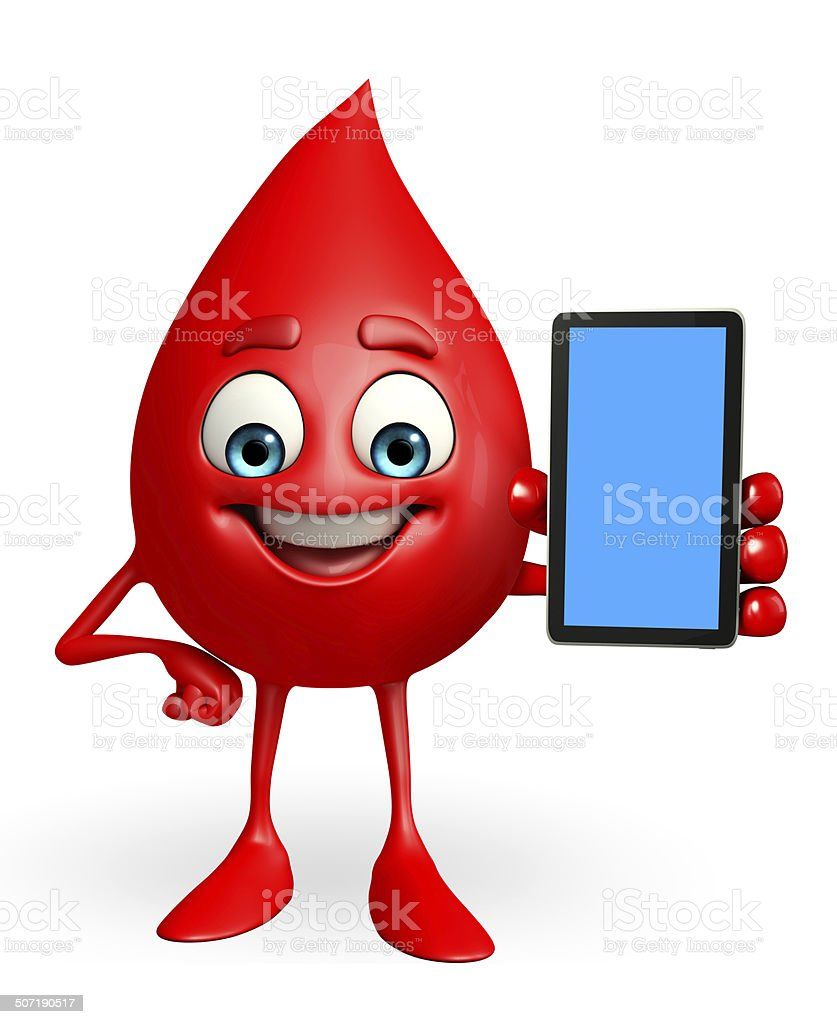 Blood Drop Character with mobile royalty-free stock photo